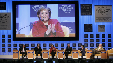 Angela Merkel à la réunion du Forum économique mondial, à Davos en 2007, photo Reuters/ Sebastian Derungs