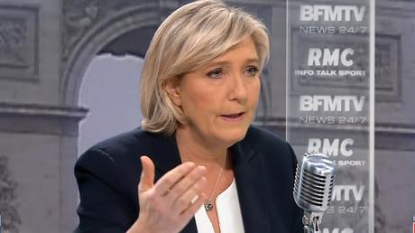 Marine Le Pen sur le plateau de Jean-Jacques Bourdin, le 3 janvier 2017, capture d'écran ©BFMTV/RMC