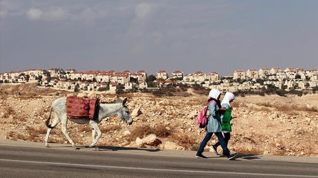 Deux écolières palestiniennes passent devant la colonie de Maale Adumim, en Cisjordanie, en 2013, photo ©Reuters/Ammar Awad