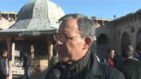 Thierry Mariani en voyage à Alep en janvier 2017.