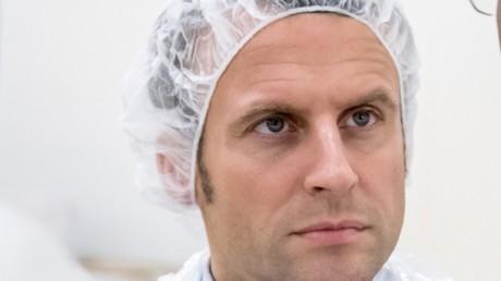 Emmanuel Macron visite une usine de fruits de mer en Guyane
