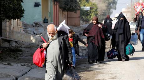 Les réfugiés dans la banlieu Sukar de la ville de Mossoul