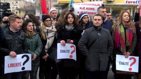 Manifestation à Tirana