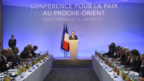 Le président de la République française, François Hollande, lors de la conférence internationale de Paris du 15 janvier