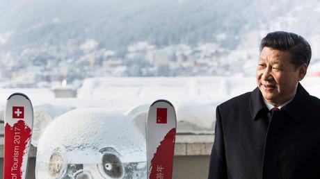 Le président chinois Xi Jinping à côté d'un panda de glace au forum économique de Davos.