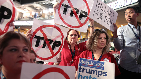 Manifestants contre le TPP à Philadelphie, aux Etats-Unis, en juillet 2017, photo ©Drew Angerer / GETTY IMAGES NORTH AMERICA / AFP