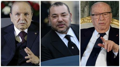 Le président algérien Abdelaziz Bouteflika, le roi du Maroc Mohamed VI, le président tunisien Béji Caïd Essebsi