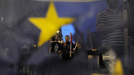 Une manifestation contre l'Union européenne en Grèce.