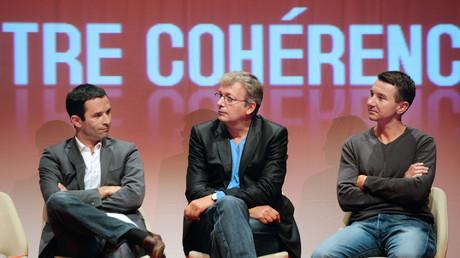 Benoît Hamon, Pierre Laurent et Olivier Besancenot réunis en Septembre 2010 lors de l'université d'été du courant de Benoît Hamon «Un autre Monde» à Vieux-Boucau.