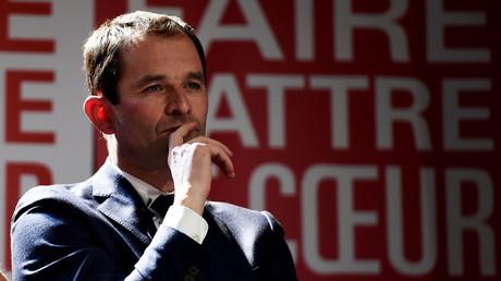 Benoît Hamon durant un meeting à Marseille.