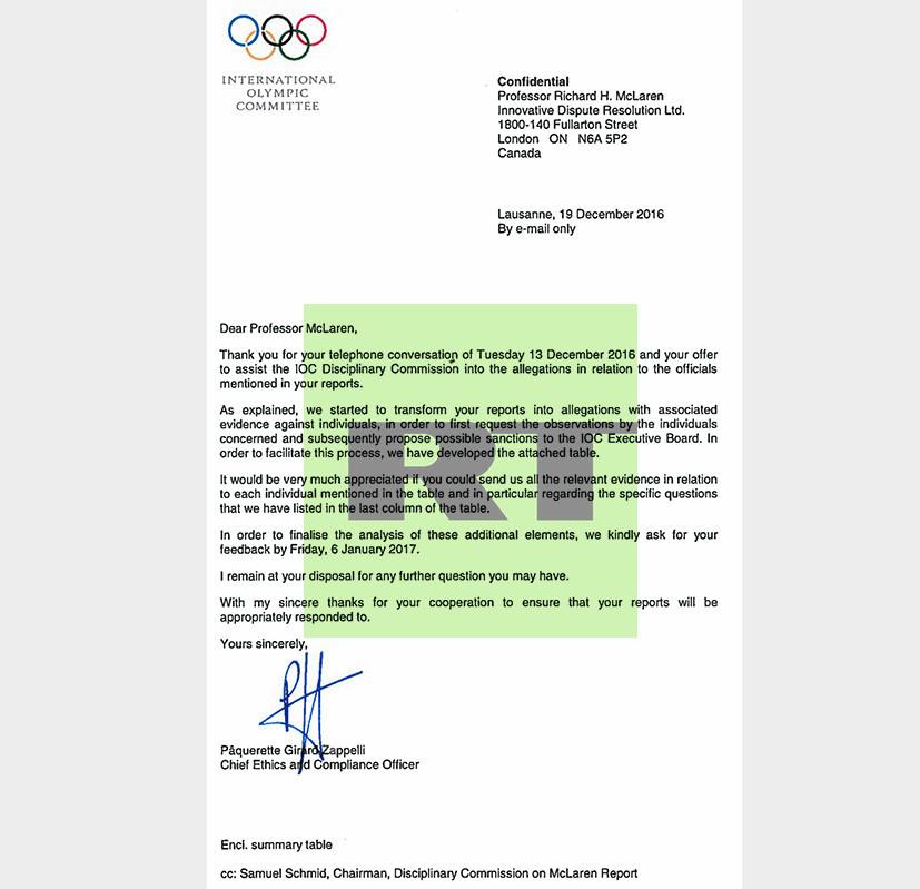 Mécontent, le CIO réclame les preuves du dopage institutionnalisé en Russie à McLaren (EXCLUSIF)