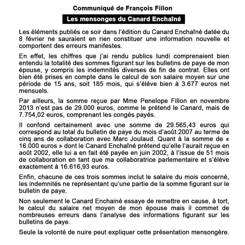 45 000 euros d'indemnités : François Fillon dément les nouvelles révélations du «Canard Enchaîné»