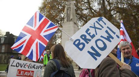 Des partisans du Brexit, durant la campagne sur le référendum (Photographie d'illustration)