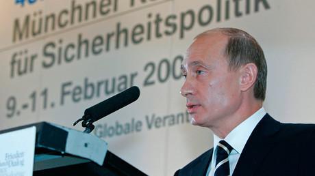 Le président russe Vladimir Poutine à la Conférence de Munich sur les politiques de défense
