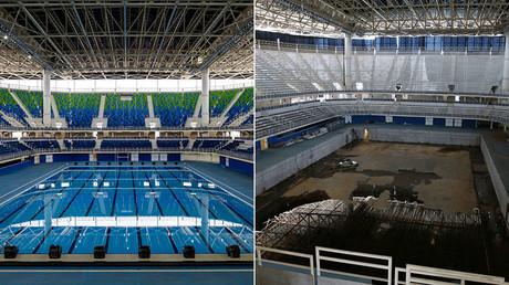 Six mois après la fin des Jeux olympiques de Rio en 2016, les installations sont en piteux état, crédits photos ©Yasuyoshi Chiba (AFP), Pilar Olivares/Reuters