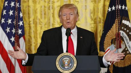 Donald Trump lors d'une conférence de presse à la Maison-Blanche
