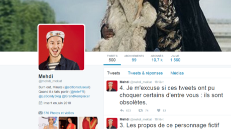 Une capture d'écran du compte Twitter de Mehdi Meklat, ex-journaliste du Bondy Blog au cœur d'une polémique pour des tweets orduriers