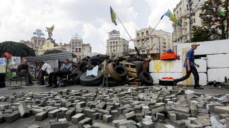Les barricades au centre de Kiev, Ukraine, lors des démonstrations en 2014