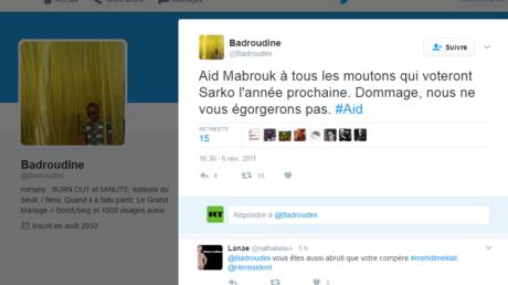 Capture d'écran du compte Twitter vraisemblablement tenu par Badroudine Saïd Abdallah