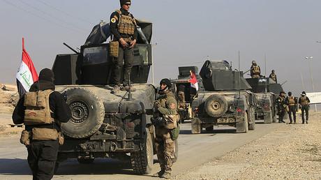 Les forces des services contre-terroristes au sud de Mossoul, en Irak, février 2017.