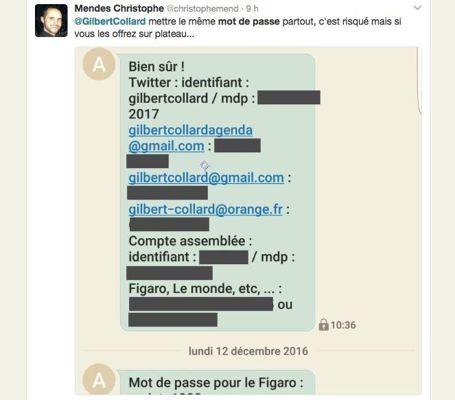 Champion de la transparence ? Gilbert Collard livre tous ses mots de passe dans un tweet