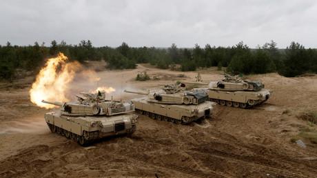 Les chars américains lors des exercices militaires de l'OTAN en Lettonie