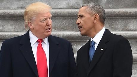 Le président Donald Trump et son prédécesseur Barack Obama lors de l'investiture