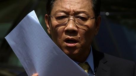 L'ambassadeur de Corée du Nord en Malaisie, Kang Chol à une conférence de presse à Kuala Lumpur le 20 février 2017