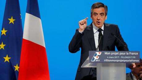 François Fillon pendant son discours à Aubervilliers