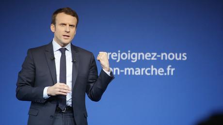 Emmanuel Macron en meeting à Saint-Priest-Taurion en février 2017.