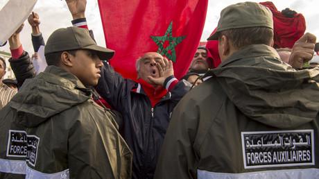 Une manifestation de protestation contre l'assassinat de membres des forces de sécurité marocaines dans le Sahara occidental, en janvier 2017