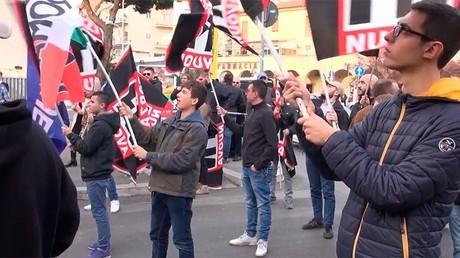 Le rassemblement de Forza Nuova dans le centre de Rome le 24 mars 2017