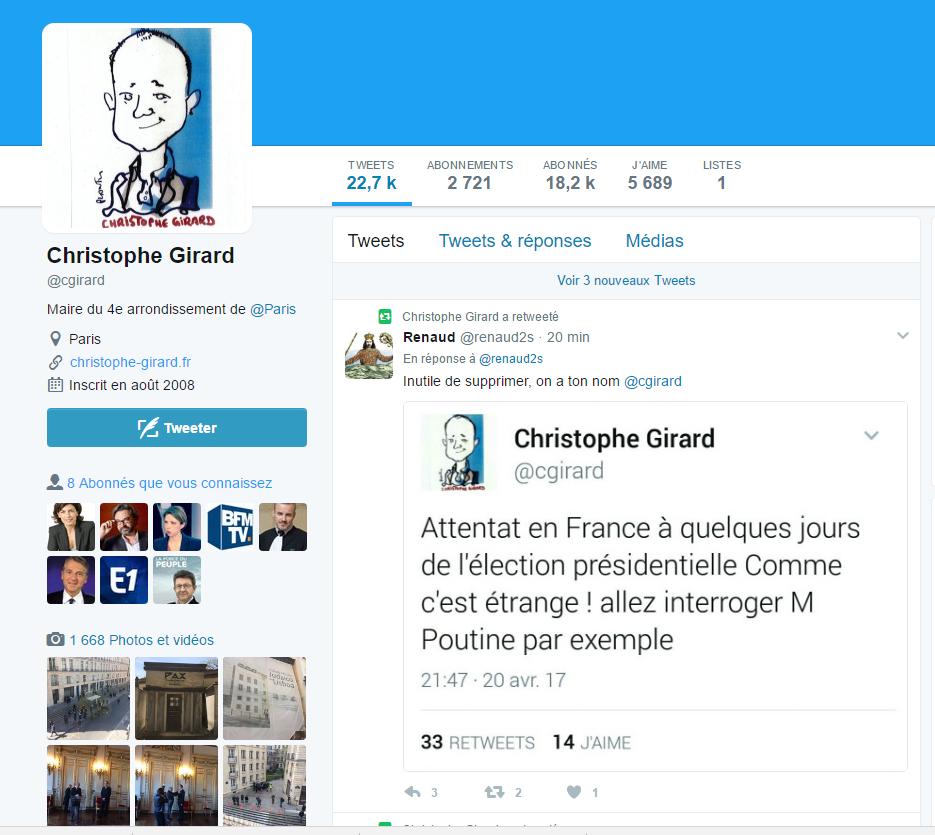 Un élu PS accusé d'avoir associé la fusillade des Champs-Elysées... au Kremlin