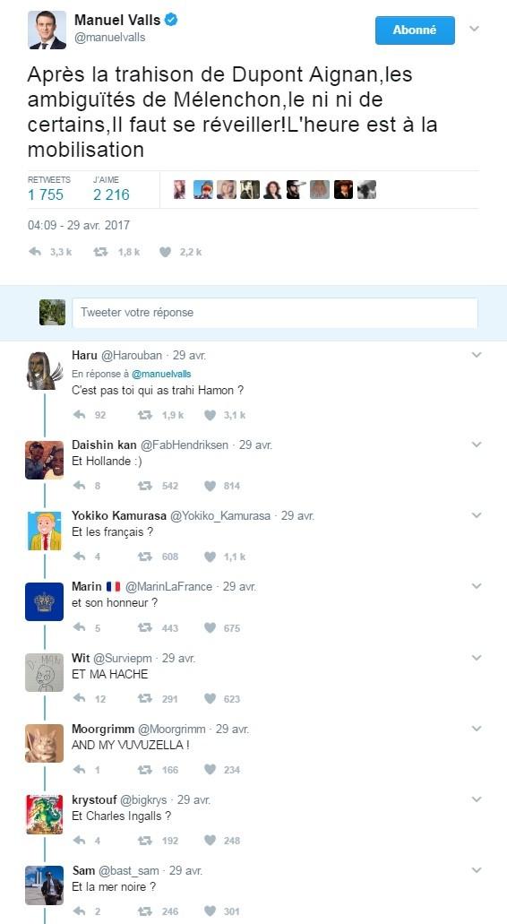Manuel Valls incendié sur Twitter après avoir dénoncé la «trahison» de Nicolas Dupont-Aignan