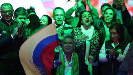 Lenin Moreno au soir de l'élection présidentielle équatorienne, le 2 avril