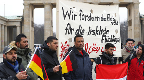 Une demonstration contre l'expulsion des réfugiés irakiens en Allemagne.