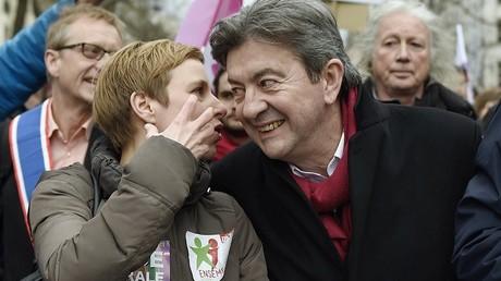 Clémentine Autain et Jean-Luc Mélenchon en manifestation