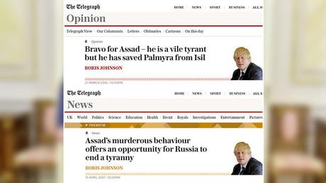 Boris Johnson 2016 vs 2017 : une volte-face du «Bravo à Assad» au «Assad doit partir»