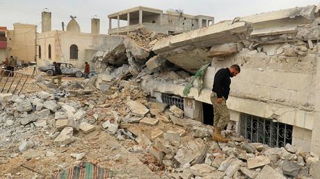 La mosquée syrienne détruite, mars 2017.