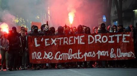 Une manifestation le 19 avril à Marseille, contre la venue de la candidate du Front national, Marine Le Pen
