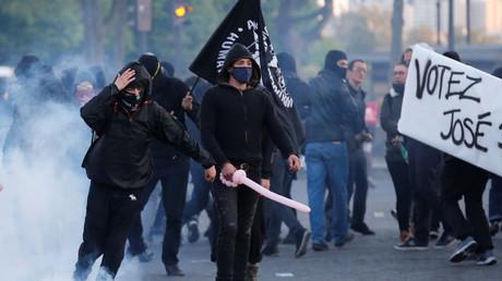 Des émeutes à Paris le jour du premier tour de l'élection présidentielle-2017.