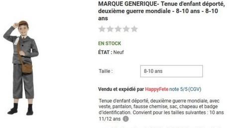 Le site Rue du Commerce met en vente un costume «d'enfant déporté» avant de faire marche arrière