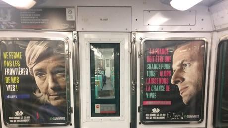 Un groupe contre l'avortement placarde des affiches anti-IVG dans le métro parisien