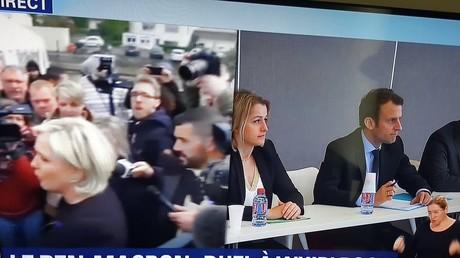 Marine Le Pen visite l'usine Whirlpool d'Amiens, tandis qu'Emmanuel Macron participe à un débat à la chambre de commerce et d'industrie, Capture d'écran BFMTV, DR
