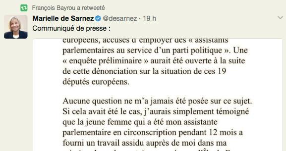 Quand Bayrou, ministre de la Justice, retweete la ligne de défense de Marielle de Sarnez