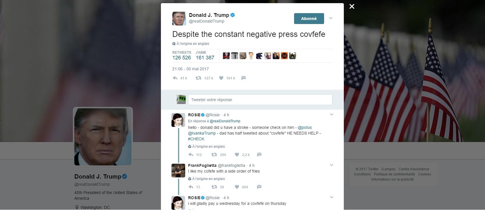 «Covfefe» : Donald Trump invente un nouveau mot, Twitter explose et se pique de linguistique