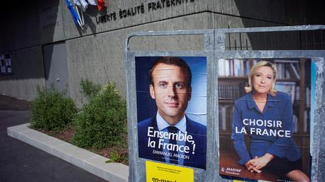 Posters de campagne de Marine Le Pen et d'Emmanuel Macron