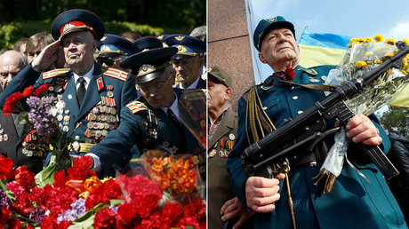 Un ancien combattant soviétique de la Seconde Guerre mondiale et le représentant de l'armée insurrectionnelle ukrainienne (photographie d'illustration)