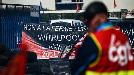 Le site de l'usine Whirlpool d'Amiens, bloqué par les salariés en grève le 25 avril 2017, photo ©DENIS CHARLET / AFP