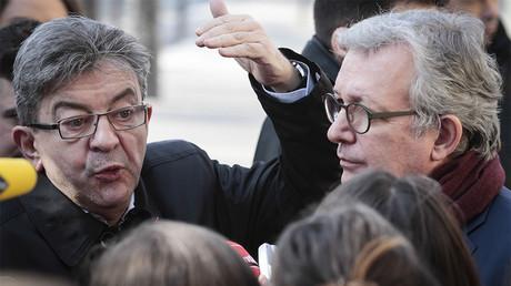 Jean-Luc Mélenchon et Pierre Laurent, secrétaire national du PCF en février 2017, photo ©GEOFFROY VAN DER HASSELT / AFP